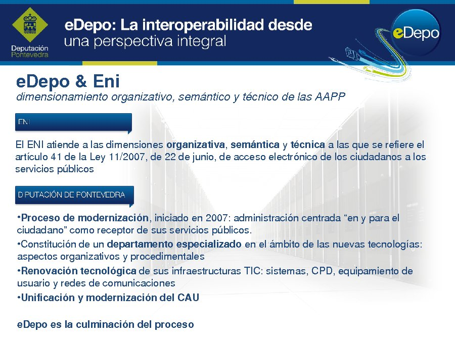 """Presentación Amancio Varela García. Xefe do Servizo de Novas Tecnoloxías da Deputación de Pontevedra. """"eDepo: a interoperabilidade desde unha perspectiva integral"""""""